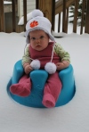 Naomi's first real snow
