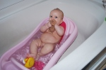 One of her last days in this tub. She's got a bath seat now!