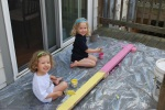 Painting the balance beam David made
