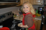 Making cinnamon raisin bread--all by herself.