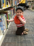 He loves exploring the library
