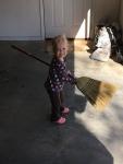 She loves sweeping!
