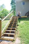 The finished stairs with rail!