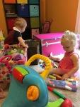 Barricading Gideon to keep him away from Naomi's toys